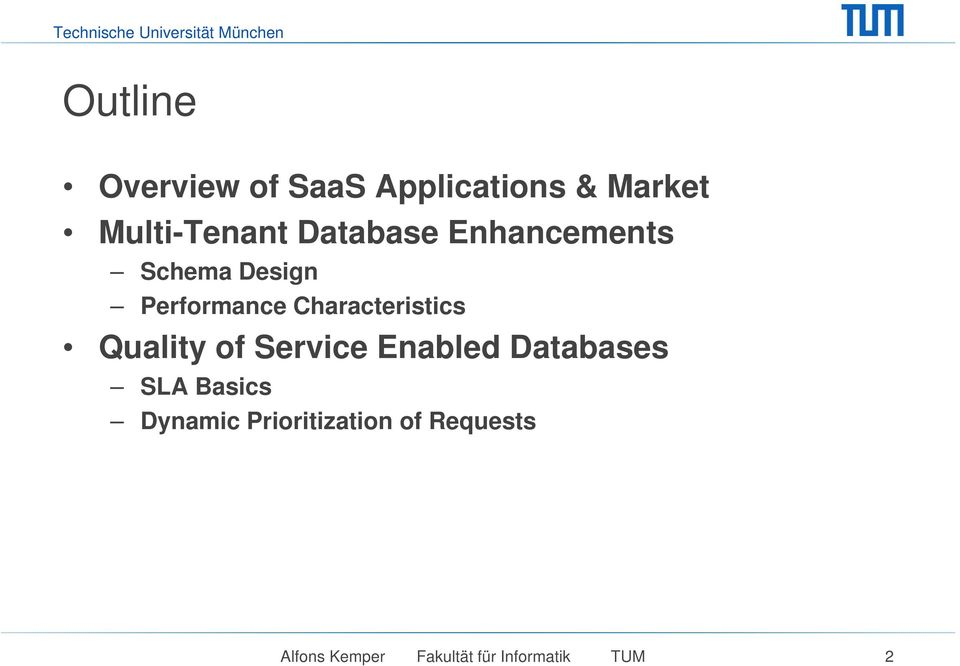 Characteristics Quality of Service Enabled Databases SLA