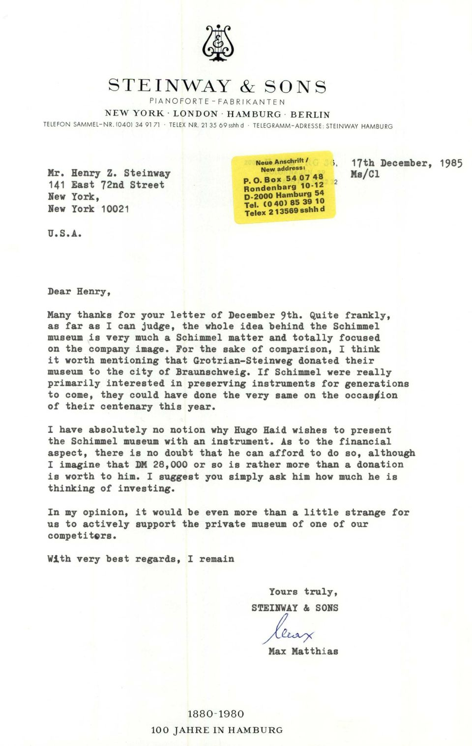 Co 40) 85 39 10 Telex 213569 sshh d U.S.A. Dear Henry, Many thanks for your letter of December 9th.