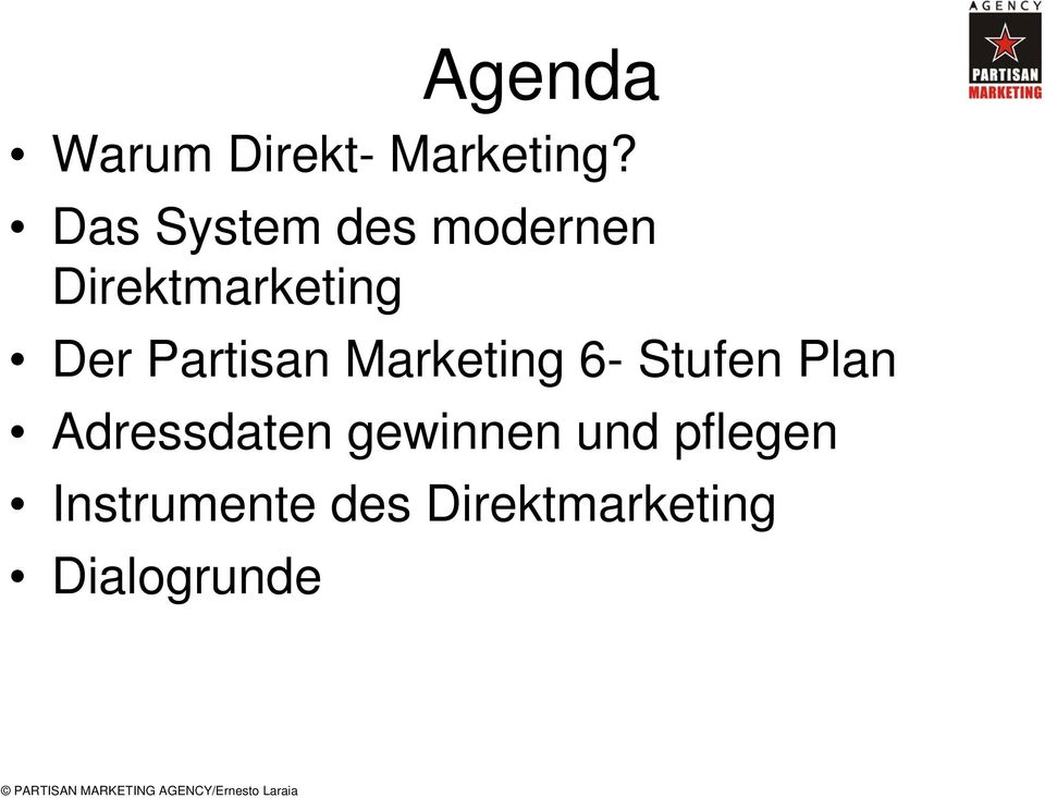 Partisan Marketing 6- Stufen Plan Adressdaten