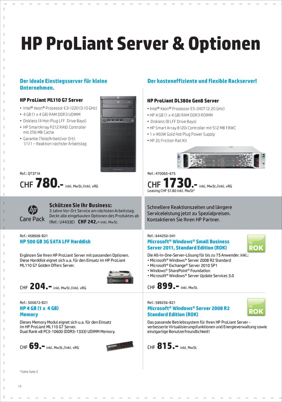 kosteneffiziente und flexible Rackserver! HP ProLiant DL380e Gen8 Server Intel Xeon Prozessor E5-2407 (2.