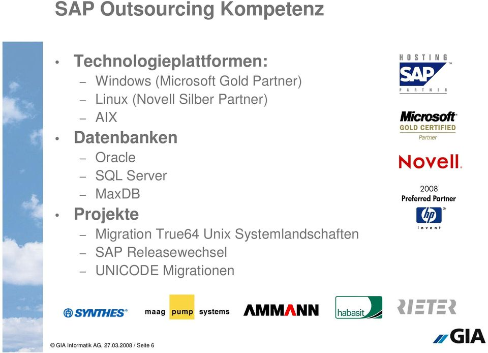 Server MaxDB Projekte Migration True64 Unix Systemlandschaften SAP