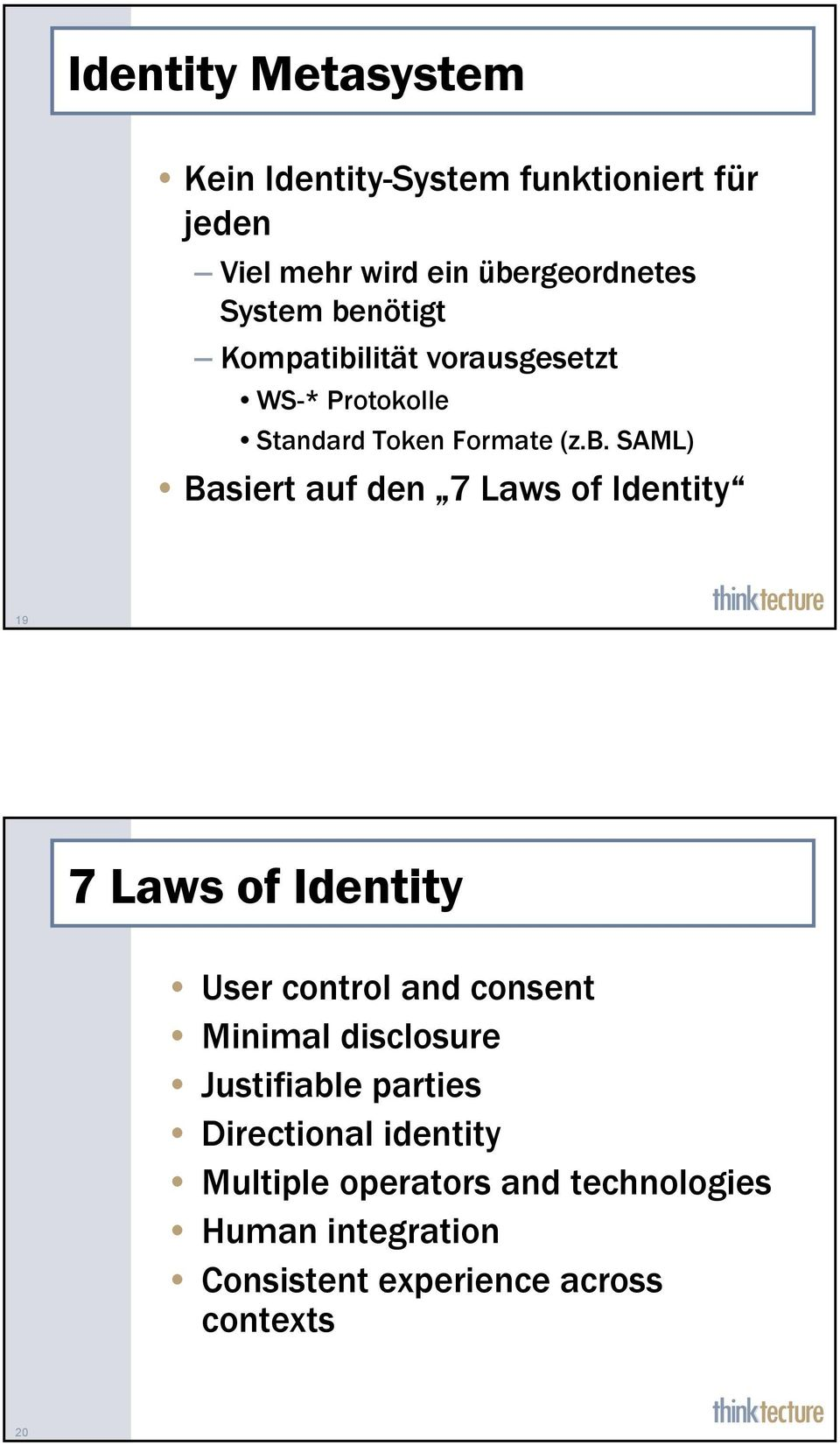 Laws of Identity 19 7 Laws of Identity User control and consent Minimal disclosure Justifiable parties