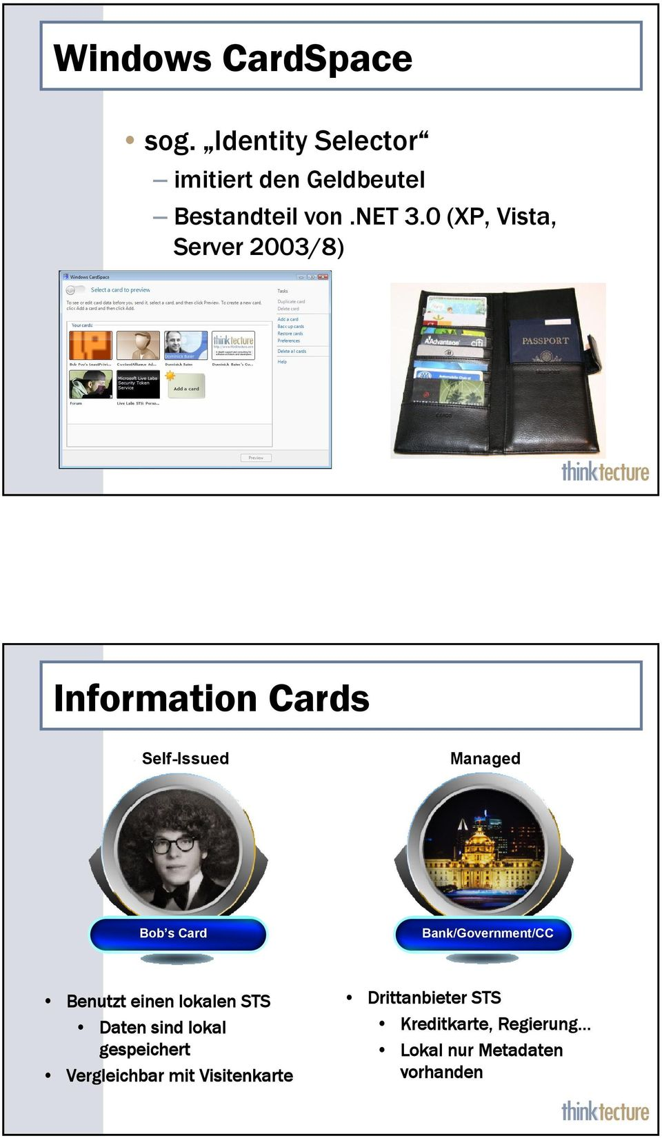0 (XP, Vista, Server 2003/8) Information Cards Self-Issued Managed Bob s Card