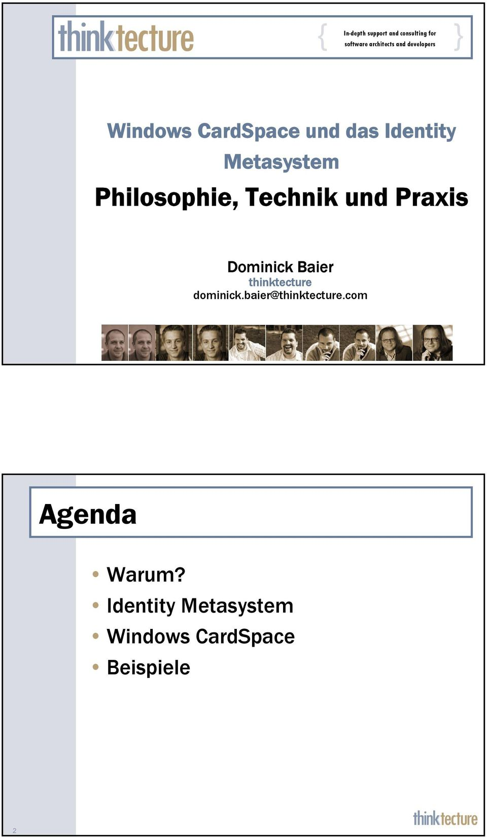 Philosophie, Technik und Praxis Dominick Baier thinktecture dominick.