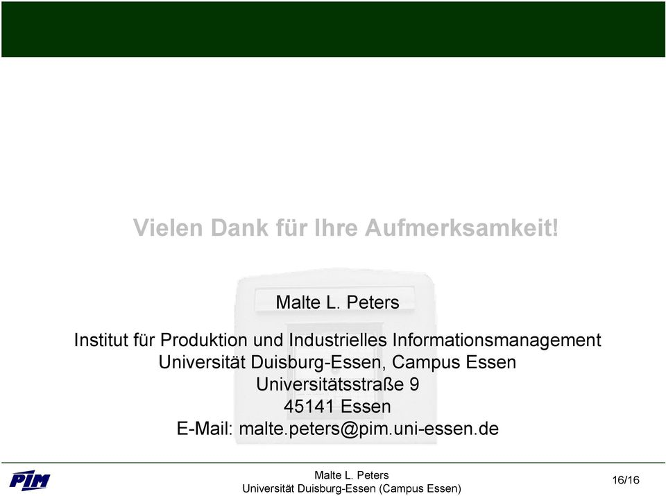 Informationsmanaement Universität Duisbur-Essen,