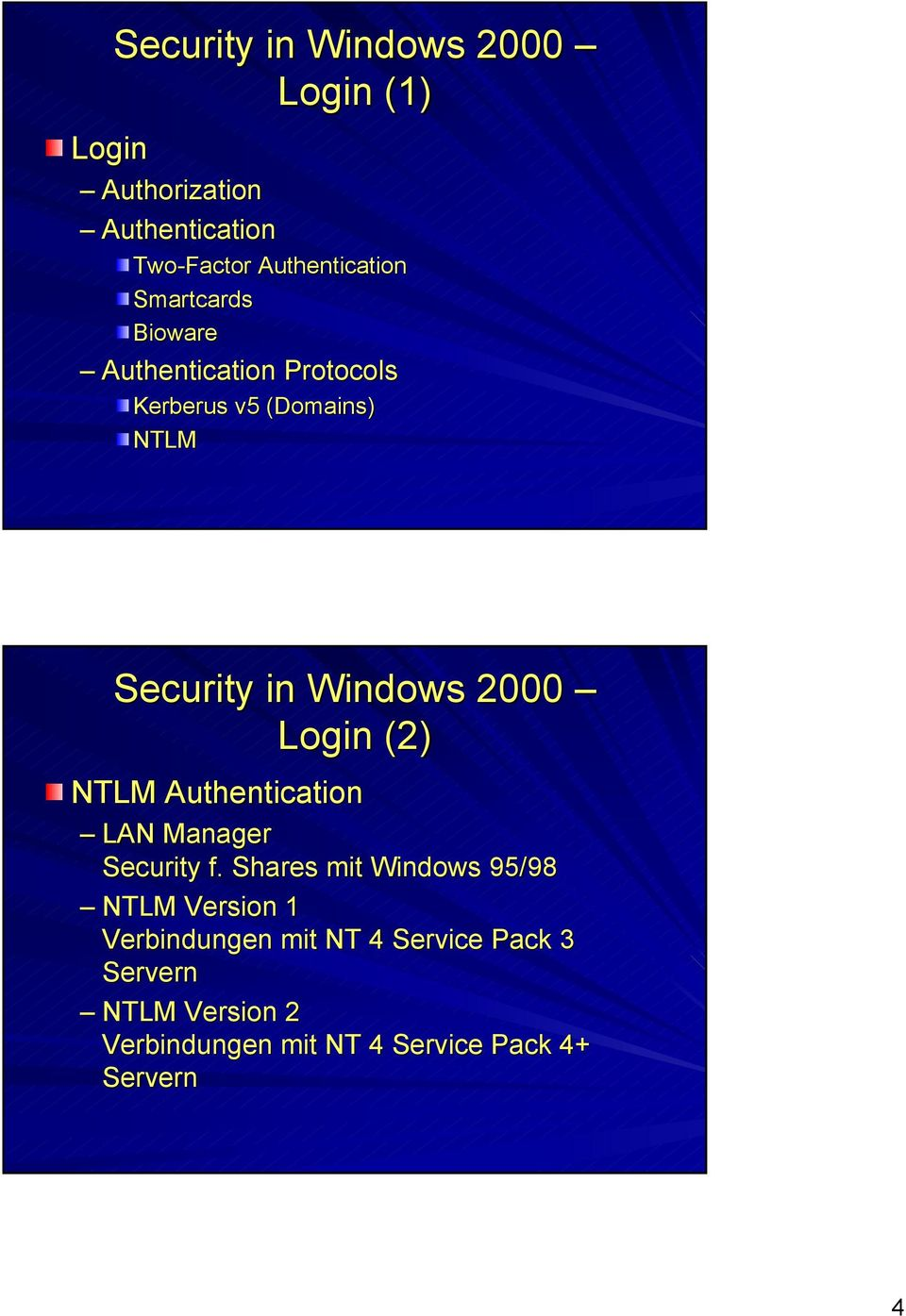 Login (2) NTLM Authentication LAN Manager Security f.