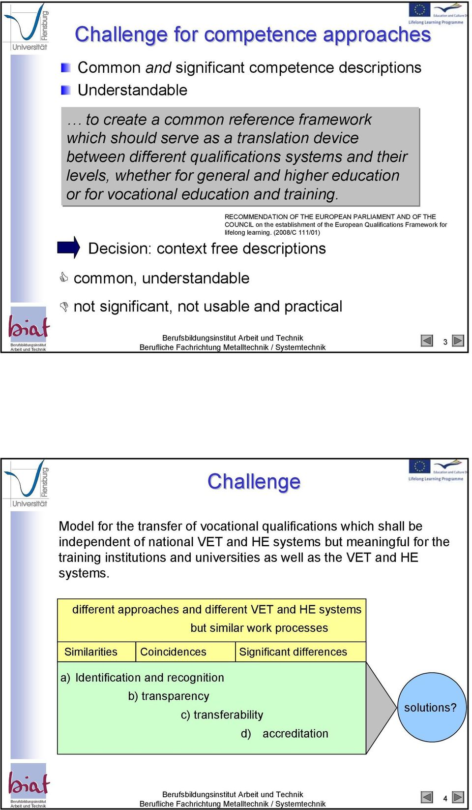 RECOMMENDATION OF THE EUROPEAN PARLIAMENT AND OF THE COUNCIL on the establishment of the European Qualifications Framework for lifelong learning.