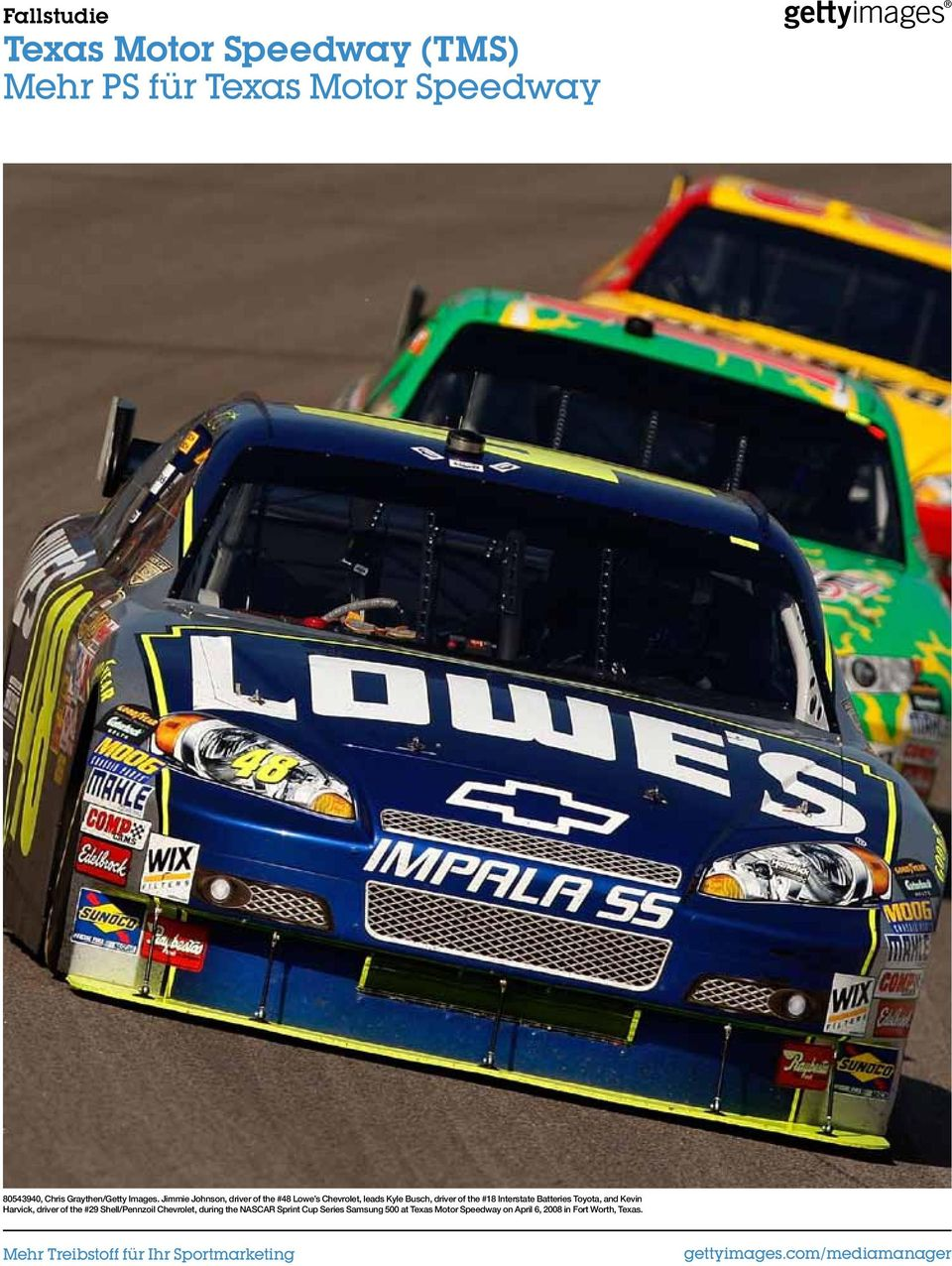 Jimmie Johnson, driver of the #48 Lowe s Chevrolet, leads Kyle Busch, driver of the #18 Interstate