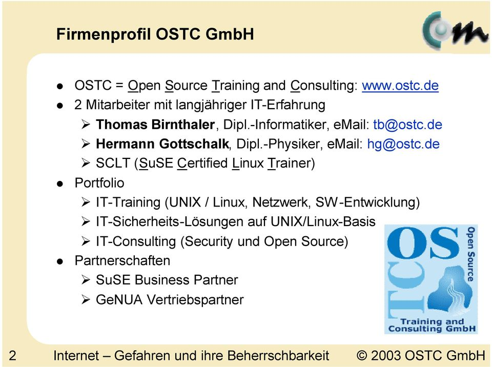 -Physiker, email: hg@ostc.