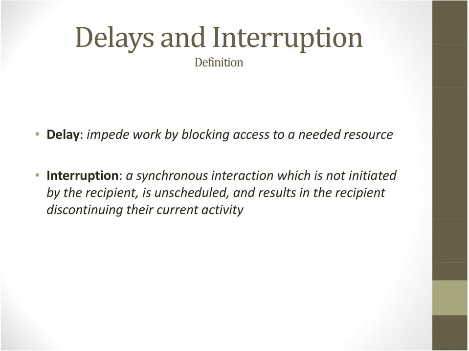 Interruption: a synchronous interaction which is not initiated by the recipient,