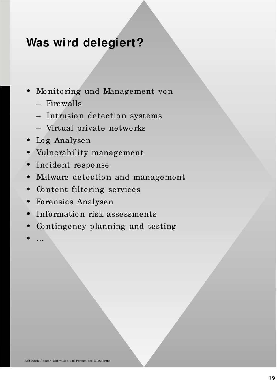 Log Analysen Vulnerability management Incident response Malware detection and management