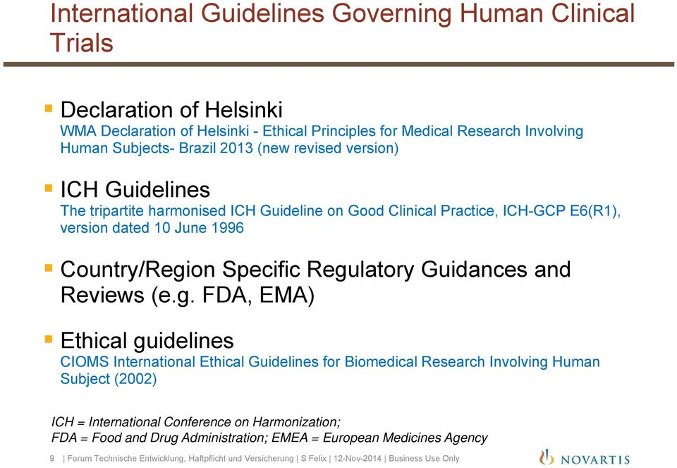 Regulatory Guidances and Reviews (e.g. FDA, EMA) Ethical guidelines CIOMS International Ethical Guidelines for Biomedical Research Involving Human Subject (2002) ICH = International