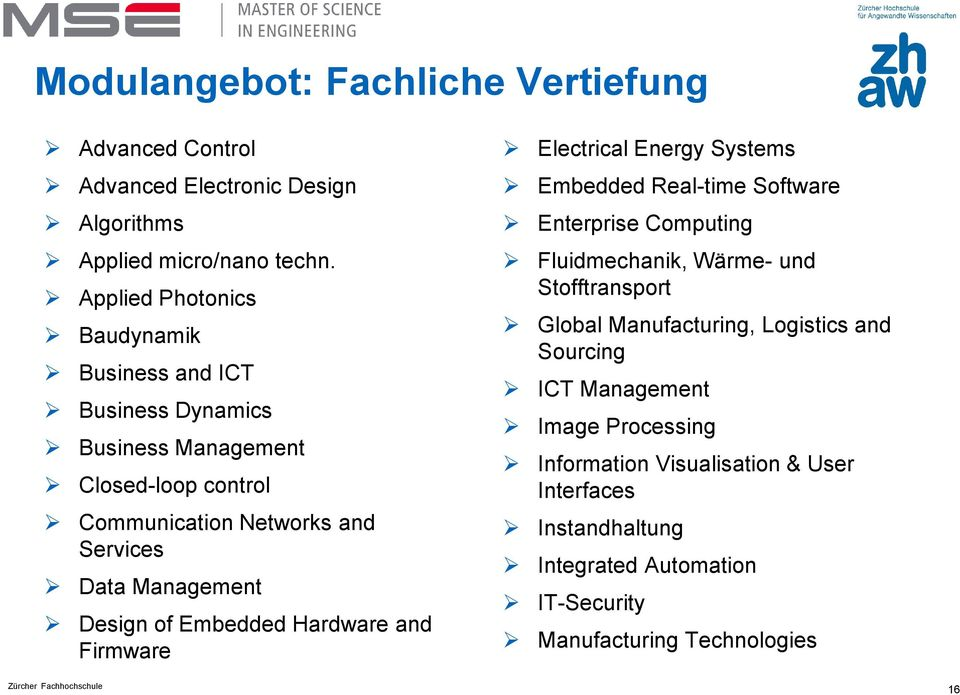 Design of Embedded Hardware and Firmware Electrical Energy Systems Embedded Real-time Software Enterprise Computing Fluidmechanik, Wärme- und Stofftransport