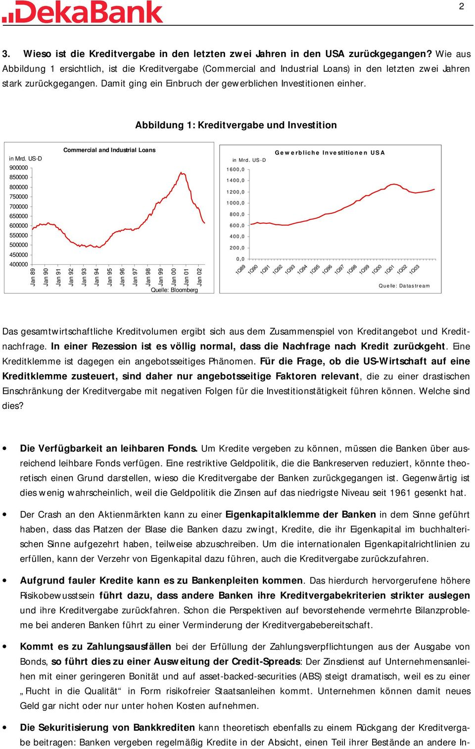 Abbildung 1: Kreditvergabe und Investition in Mrd. US-D 90 85 80 75 70 65 60 55 50 45 40 89 90 91 92 Commercial and Industrial Loans 93 94 95 96 97 Quelle: Bloomberg in Mr d.