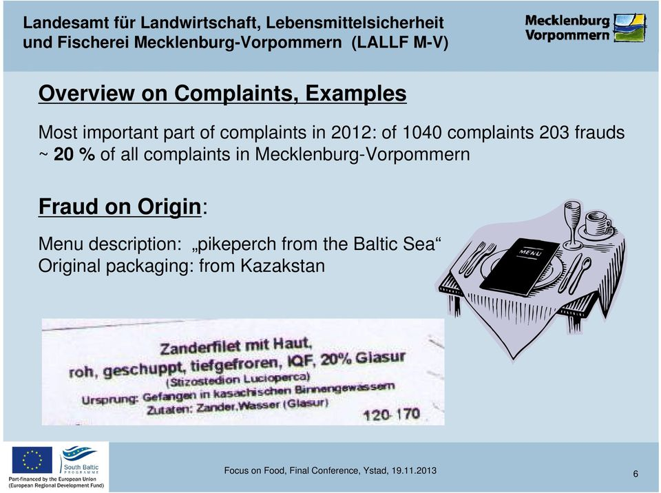 Mecklenburg-Vorpommern Fraud on Origin: Menu description: pikeperch from the