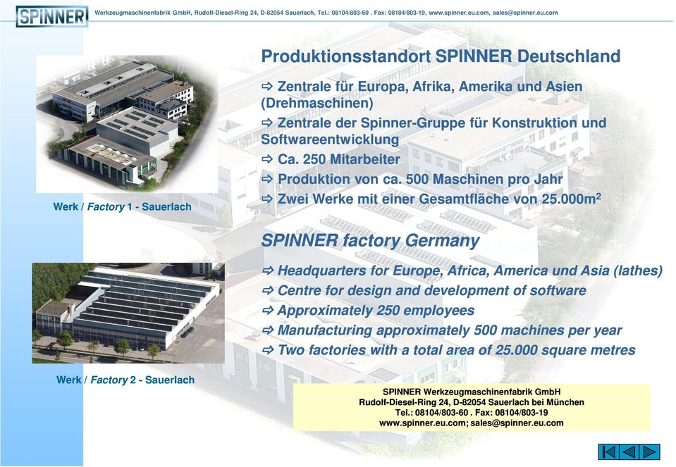 000m 2 SPINNER factory Germany Headquarters for Europe, Africa, America und Asia (lathes) Centre for design and development of software Approximately 250 employees Manufacturing approximately