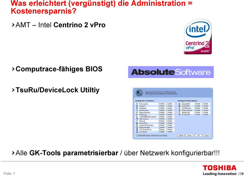 AMT Intel Centrino 2 vpro Computrace-fähiges BIOS