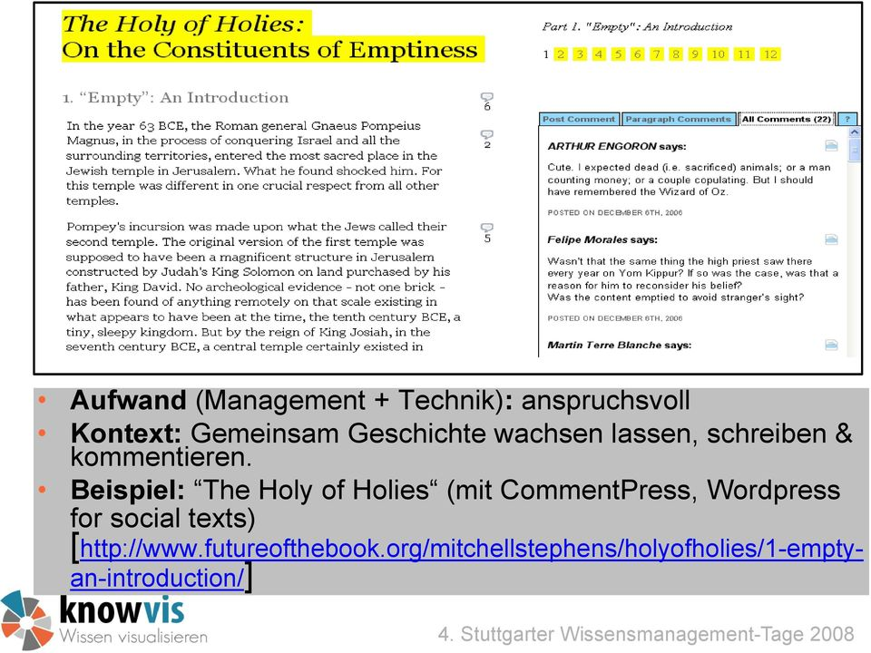 Beispiel: The Holy of Holies (mit CommentPress, Wordpress for social