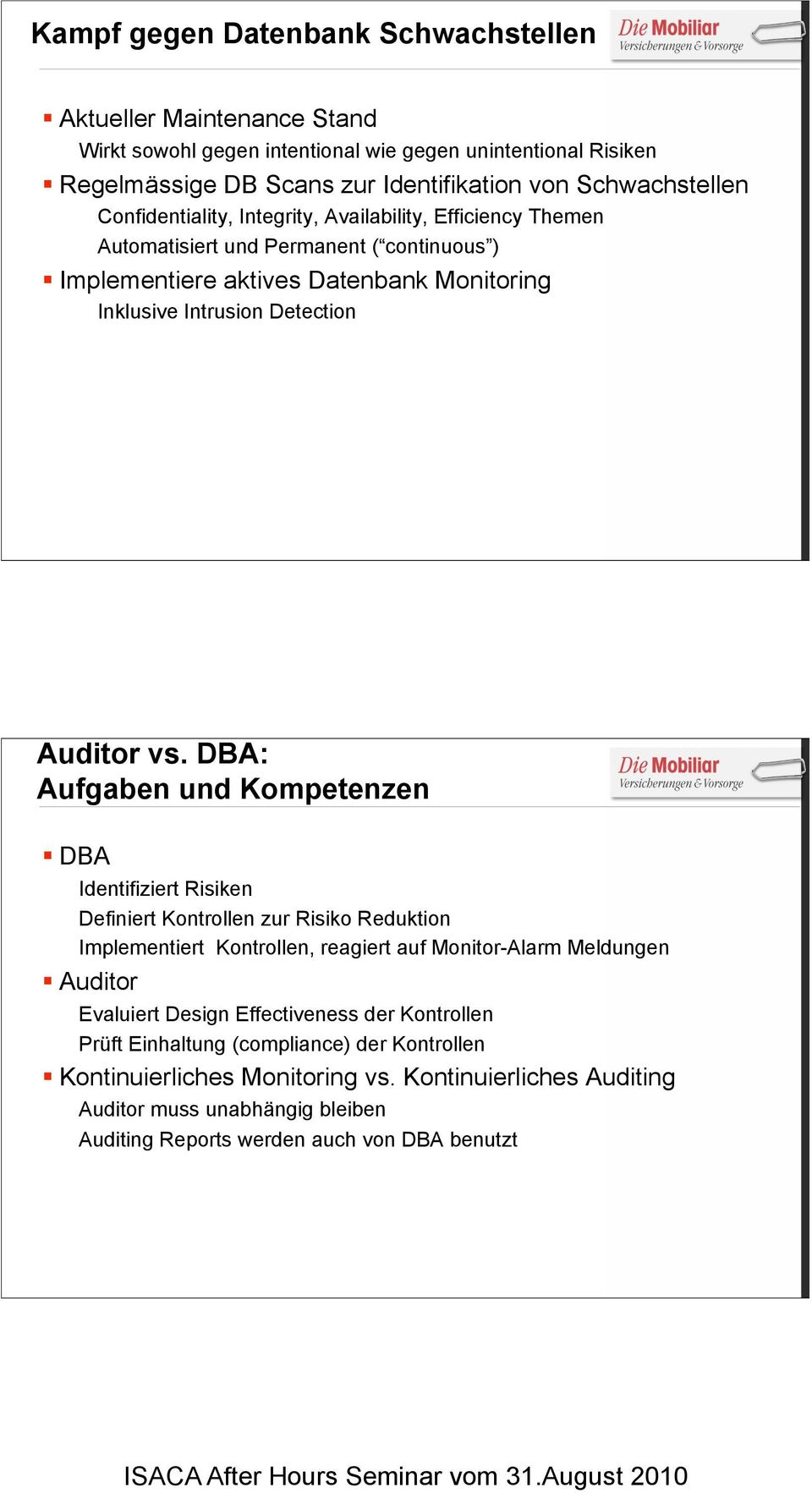 !Implementiere aktives Datenbank Monitoring Inklusive Intrusion Detection Auditor vs. DBA: Aufgaben und Kompetenzen!