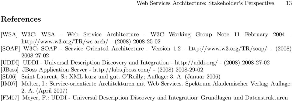 org/tr/soap/ - (2008) 2008-27-02 [UDDI] UDDI - Universal Description Discovery and Integration - http://uddi.org/ - (2008) 2008-27-02 [JBoss] JBoss Application Server - http://labs.jboss.