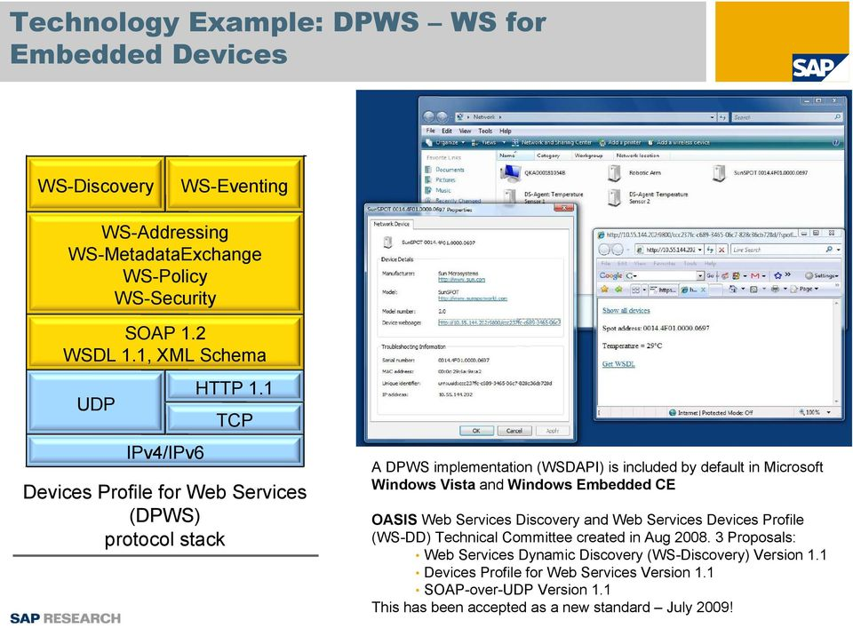 1 TCP Devices Profile for Web Services (DPWS) protocol stack A DPWS implementation (WSDAPI) is included by default in Microsoft Windows Vista and Windows Embedded