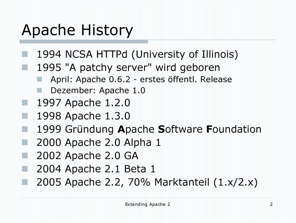 3.0 1999 Gründung Apache Software Foundation 2000 Apache 2.0 Alpha 1 2002 Apache 2.