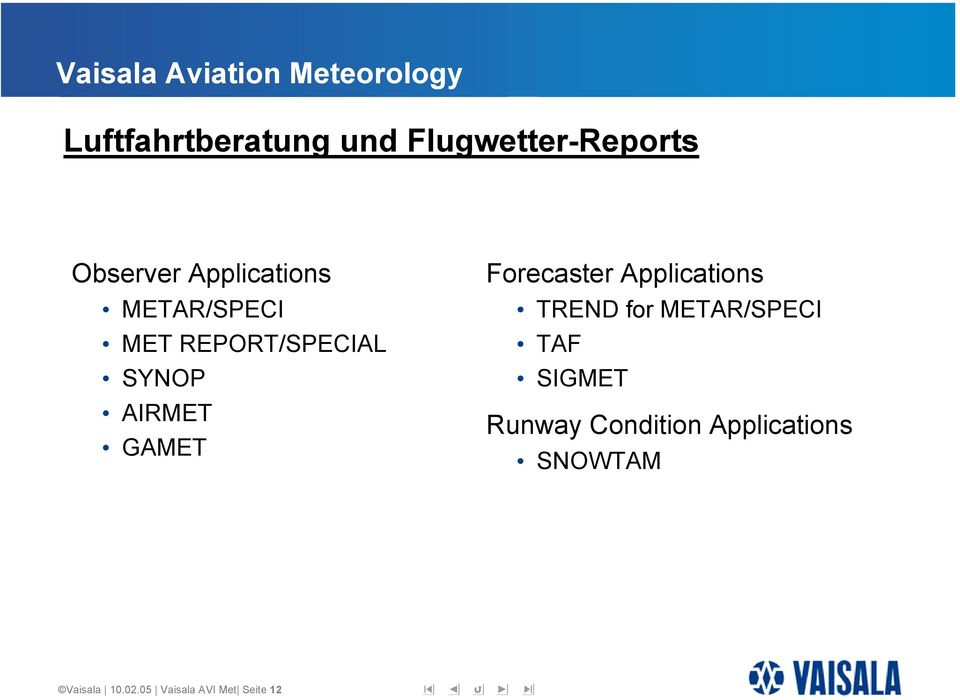 Applications TREND for METAR/SPECI TAF SIGMET Runway Condition