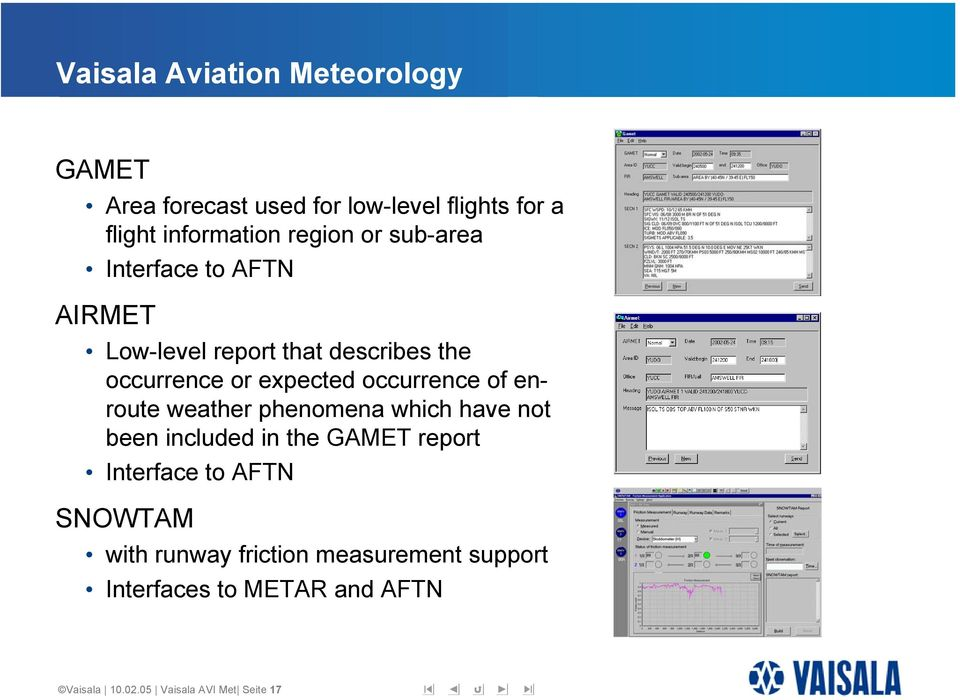 weather phenomena which have not been included in the GAMET report Interface to AFTN SNOWTAM with