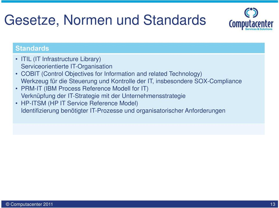 SOX-Compliance PRM-IT (IBM Process Reference Modell for IT) Verknüpfung der IT-Strategie mit der Unternehmensstrategie