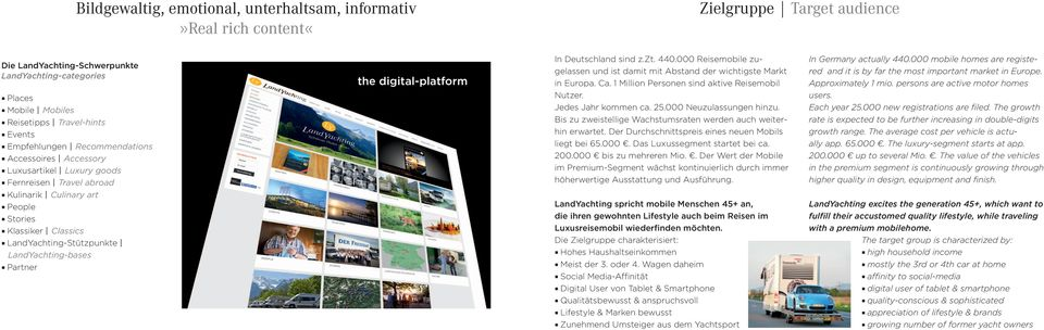 LandYachting-bases Partner the digital-platform In Deutschland sind z.zt. 440.000 Reisemobile zugelassen und ist damit mit Abstand der wichtigste Markt in Europa. Ca.
