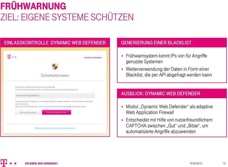 API abgefragt werden kann AUSBLICK: DYNAMIC WEB DEFENDER Modul Dynamic Web Defender als adaptive Web Application