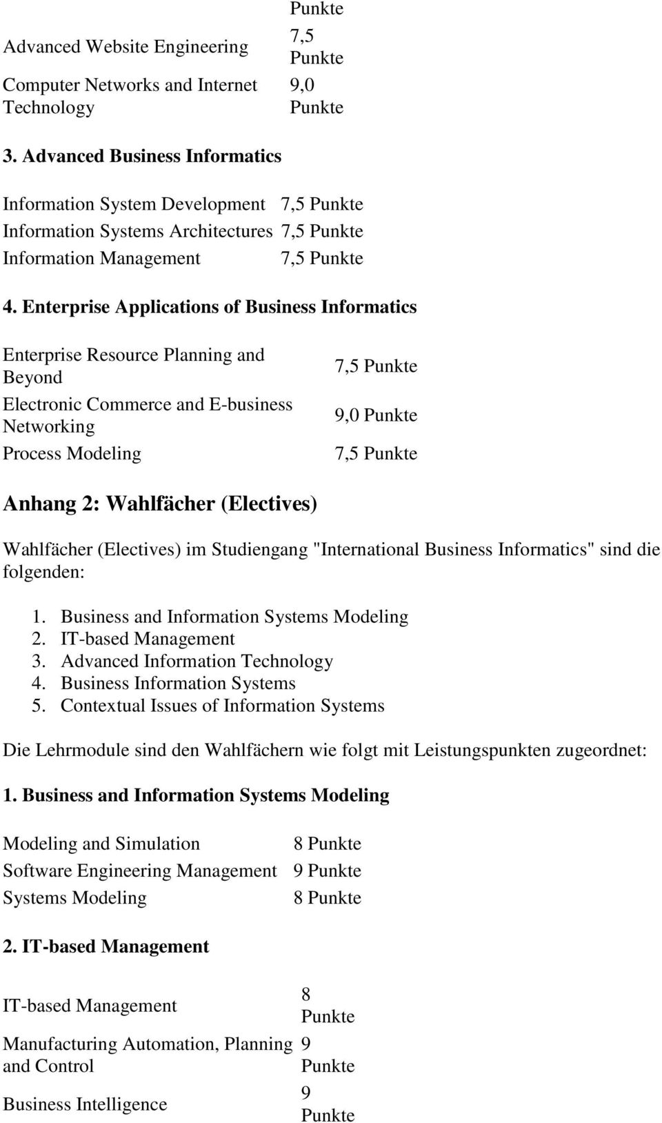 Enterprise Applications of Business Informatics Enterprise Resource Planning and Beyond Electronic Commerce and E-business Networking Process Modeling 7,5 9,0 7,5 Anhang 2: Wahlfächer (Electives)