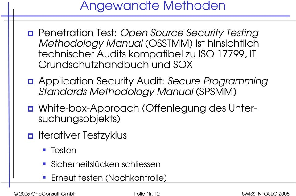 Security Audit: Secure Programming Standards Methodology Manual (SPSMM) White-box-Approach (Offenlegung des