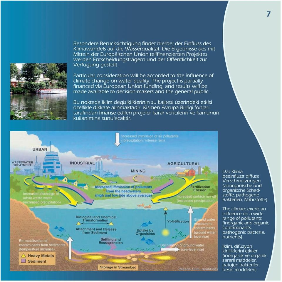 Particular consideration will be accorded to the influence of climate change on water quality.