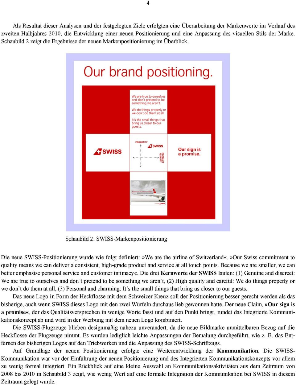 Schaubild 2: SWISS-Markenpositionierung Die neue SWISS-Positionierung wurde wie folgt definiert:»we are the airline of Switzerland«.