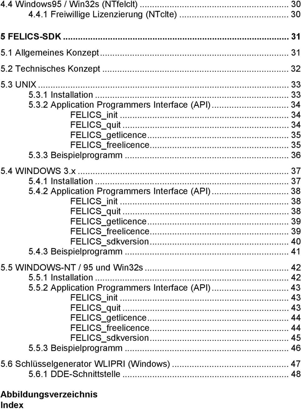 .. 37 5.4.2 Application Programmers Interface (API)... 38 FELICS_init... 38 FELICS_quit... 38 FELICS_getlicence... 39 FELICS_freelicence... 39 FELICS_sdkversion... 40 5.4.3 Beispielprogramm... 41 5.