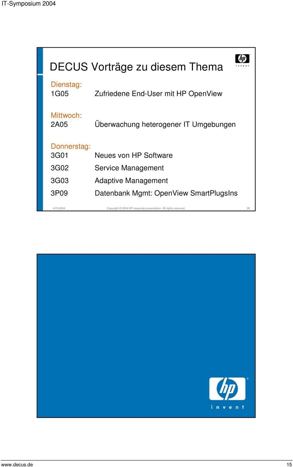 Neues von HP Software Service Management Adaptive Management Datenbank Mgmt: OpenView