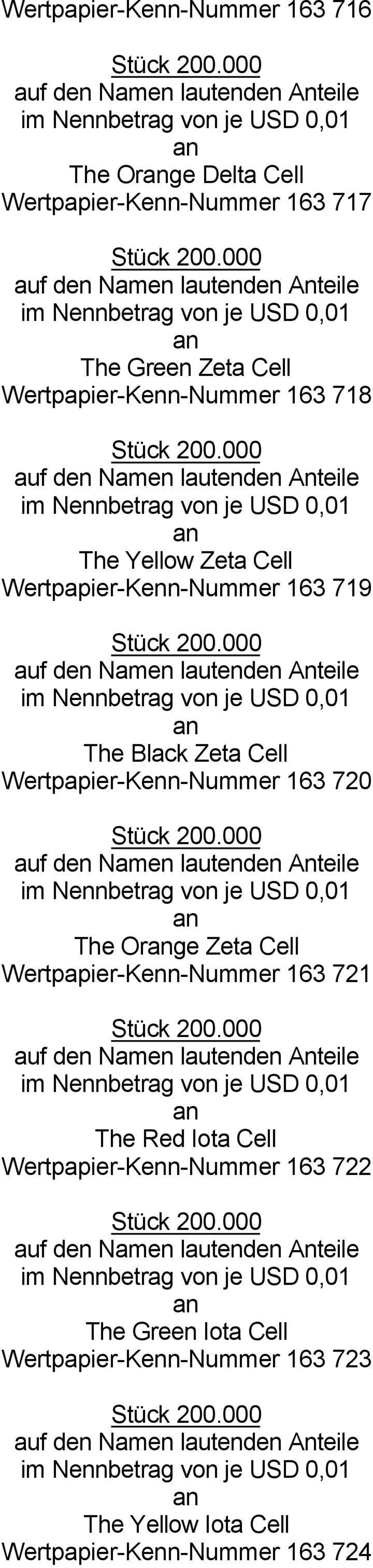 Wertpapier-Kenn-Nummer 163 720 The Orge Zeta Cell Wertpapier-Kenn-Nummer 163 721 The Red Iota Cell