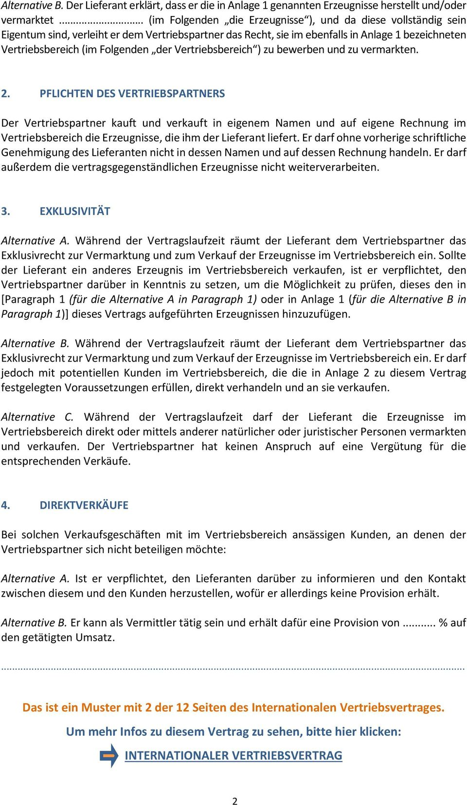 INTERNATIONALER VERTRIEBSVERTRAG MUSTER - PDF