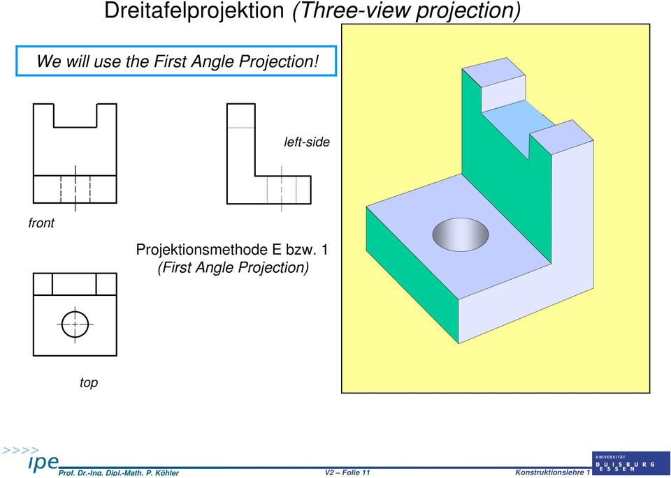 projection) We will use the First Angle Projection!