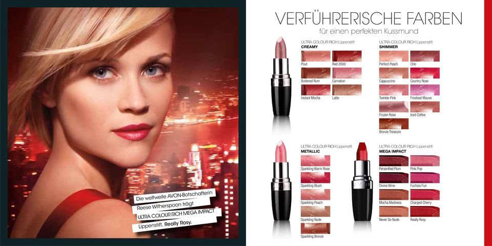 ULTRA COLOUR RICH Lippenstift MEGA IMPACT Sparkling Warm Rose Personified Plum Pink Pop Die weltweite AVON-Botschafterin Reese Witherspoon trägt ULTRA COLOUR RICH MEGA