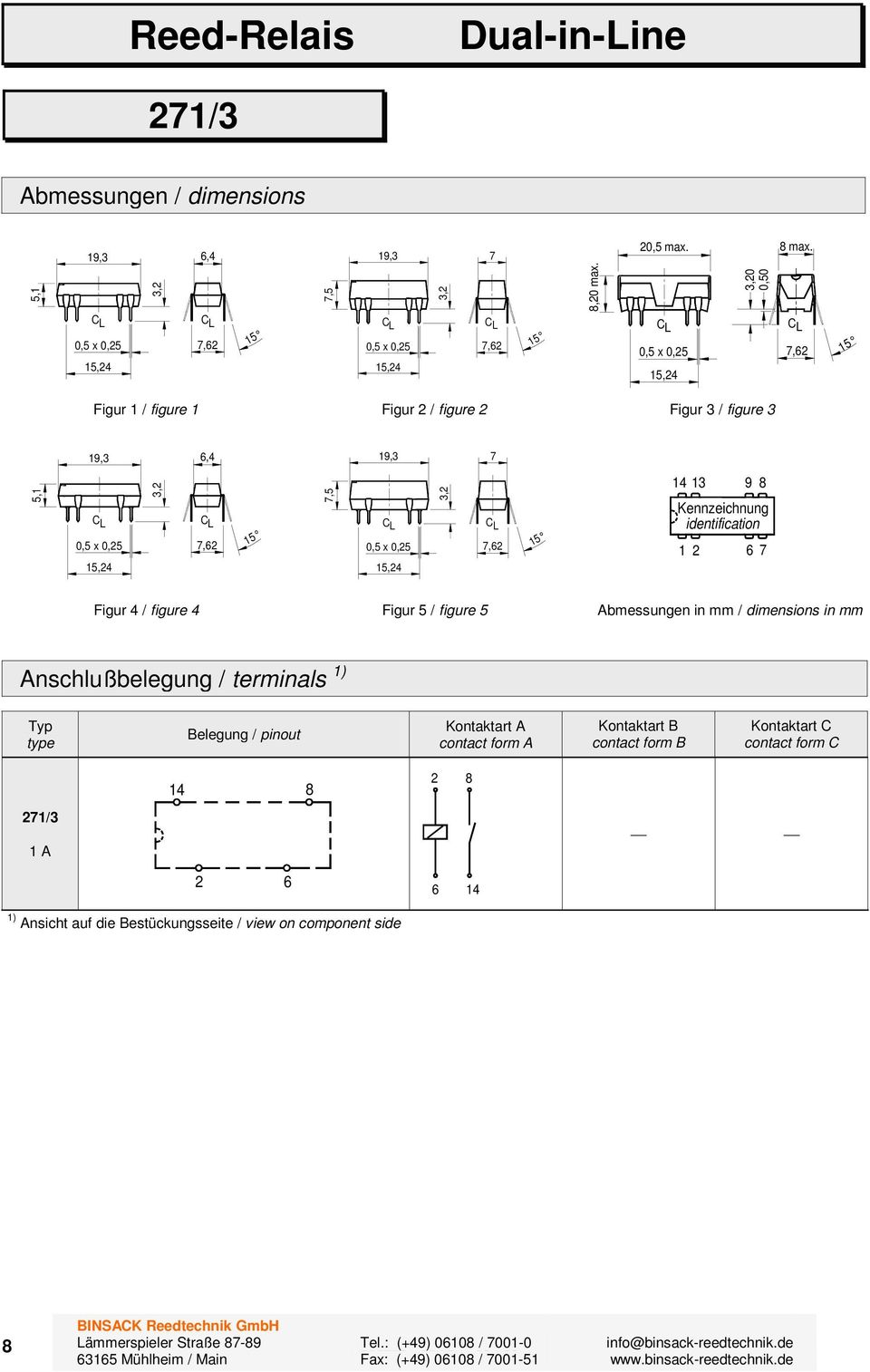 figure 4 Figur / figure Abmessungen in mm / dimensions in mm Anschlußbelegung / terminals ) Typ type Belegung / pinout Kontaktart A contact form A