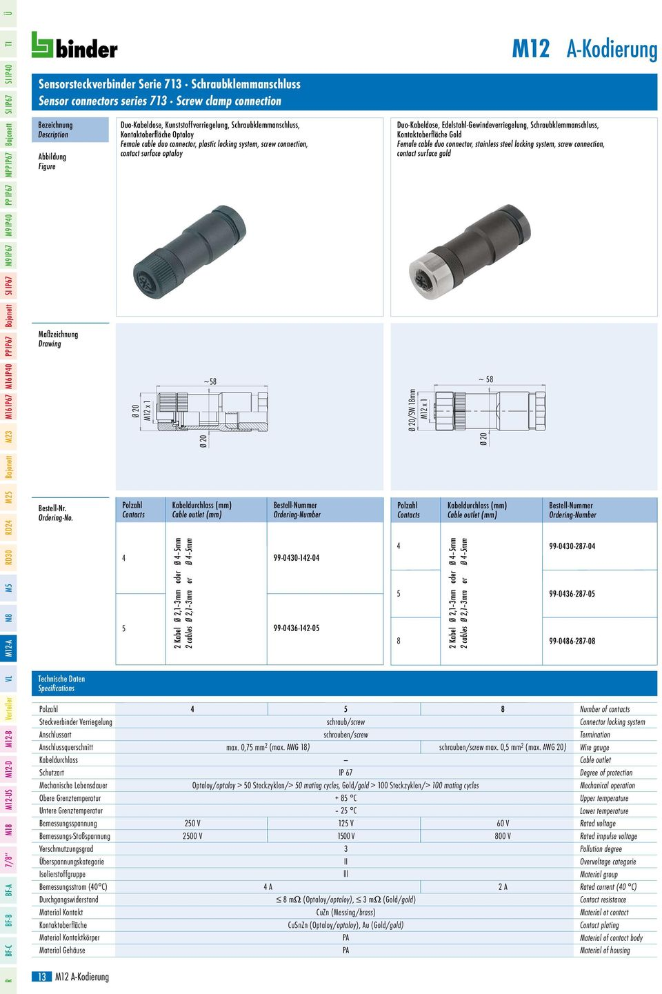 Female cable duo connector, plastic locking system, screw connection, contact surface optaloy ~ Kabel Ø, mm oder Ø mm cables Ø, mm or Ø mm 99-00--0 99-06--0 Duo-Kabeldose,