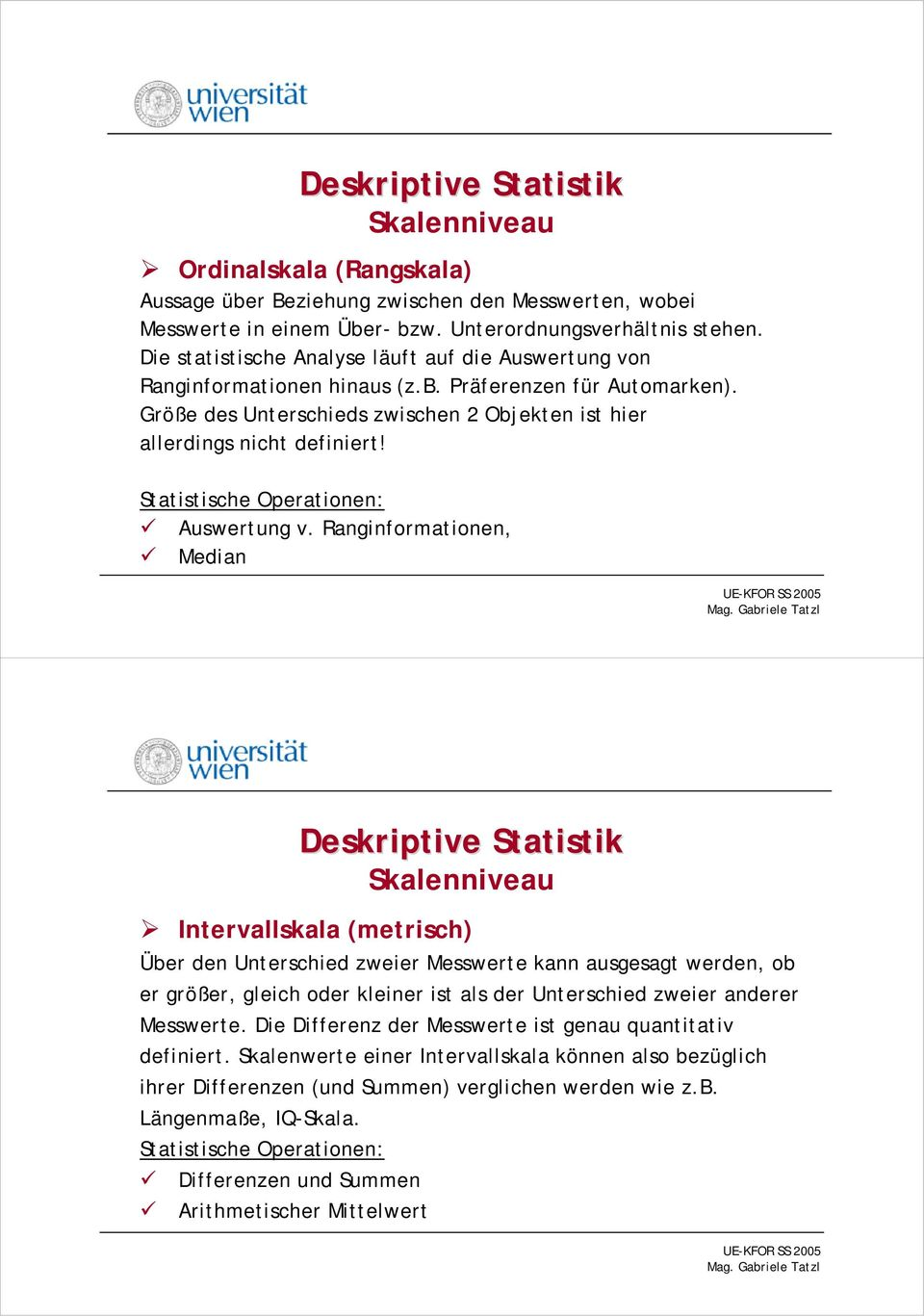 Statistische Operationen: Auswertung v.