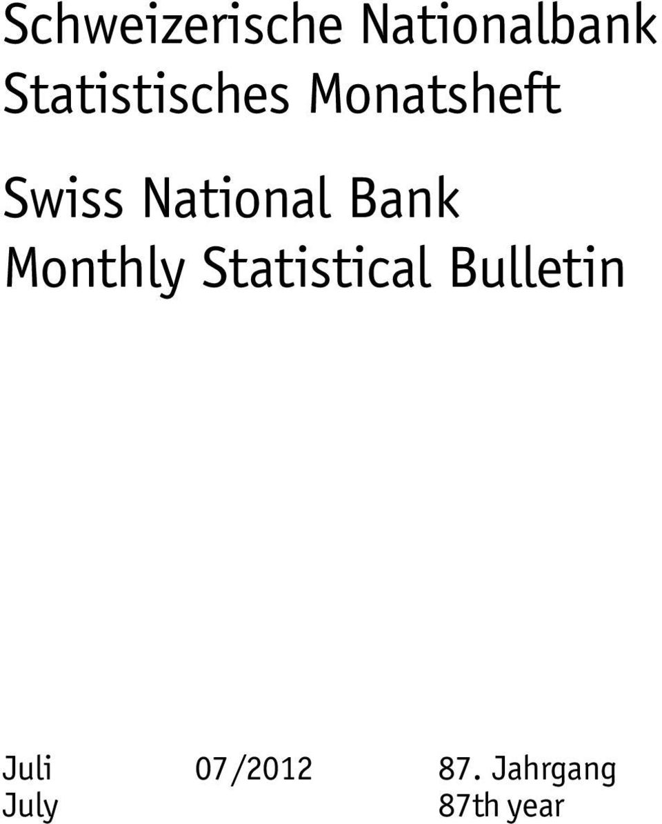 National Bank Monthly Statistical