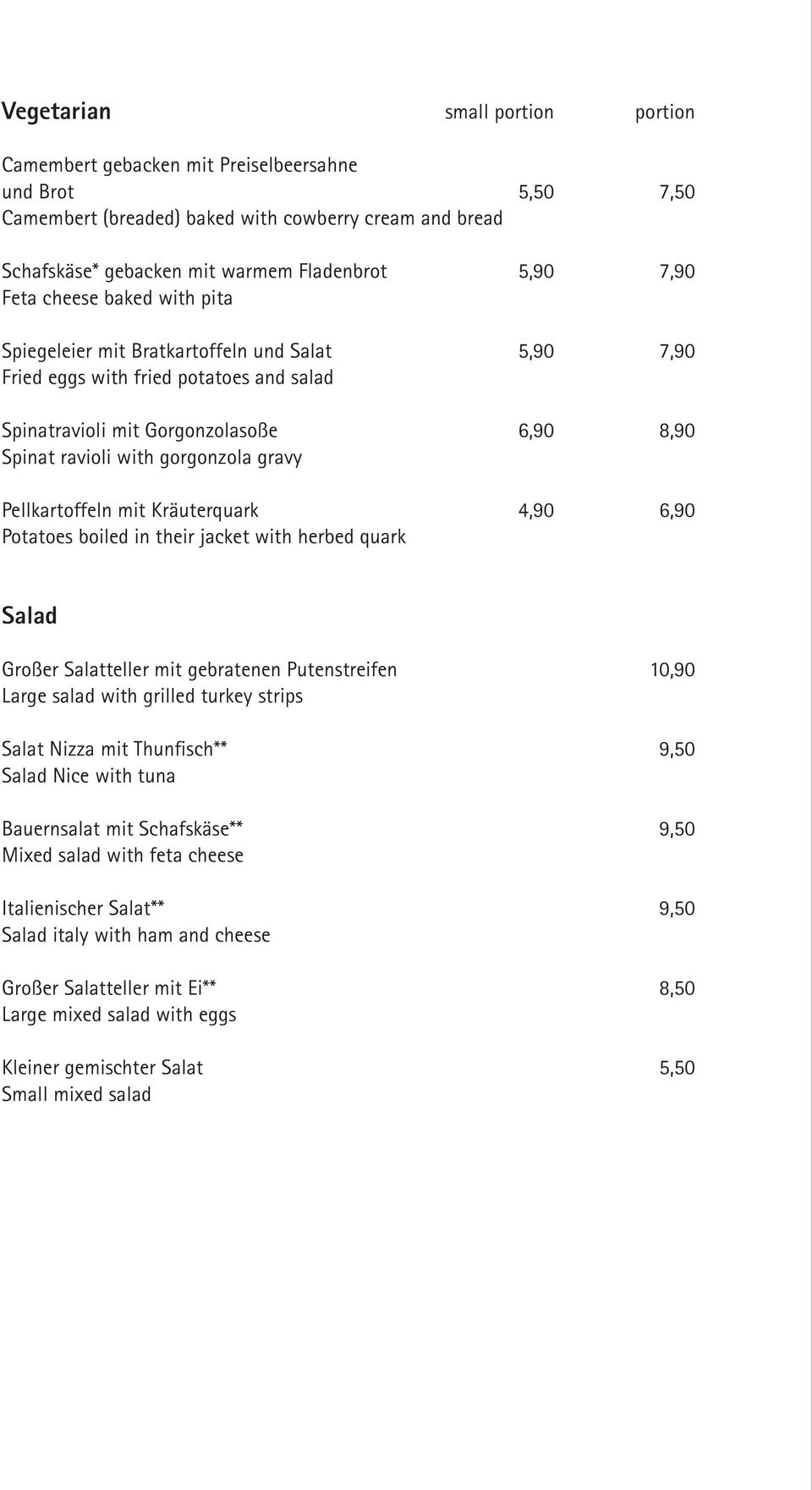 Kräuterquark Potatoes boiled in their jacket with herbed quark 4,90 Salad Großer Salatteller mit gebratenen Putenstreifen Large salad with grilled turkey strips Salat Nizza mit Thunfisch** Salad Nice