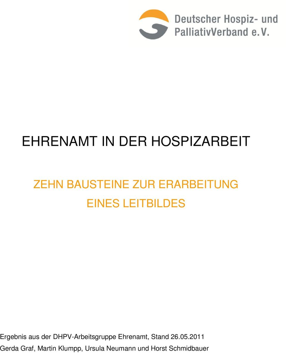 DHPV-Arbeitsgruppe Ehrenamt, Stand 26.05.
