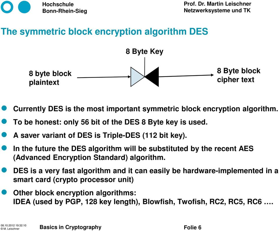 In the future the DES algorithm will be substituted by the recent AES (Advanced Encryption Standard) algorithm.