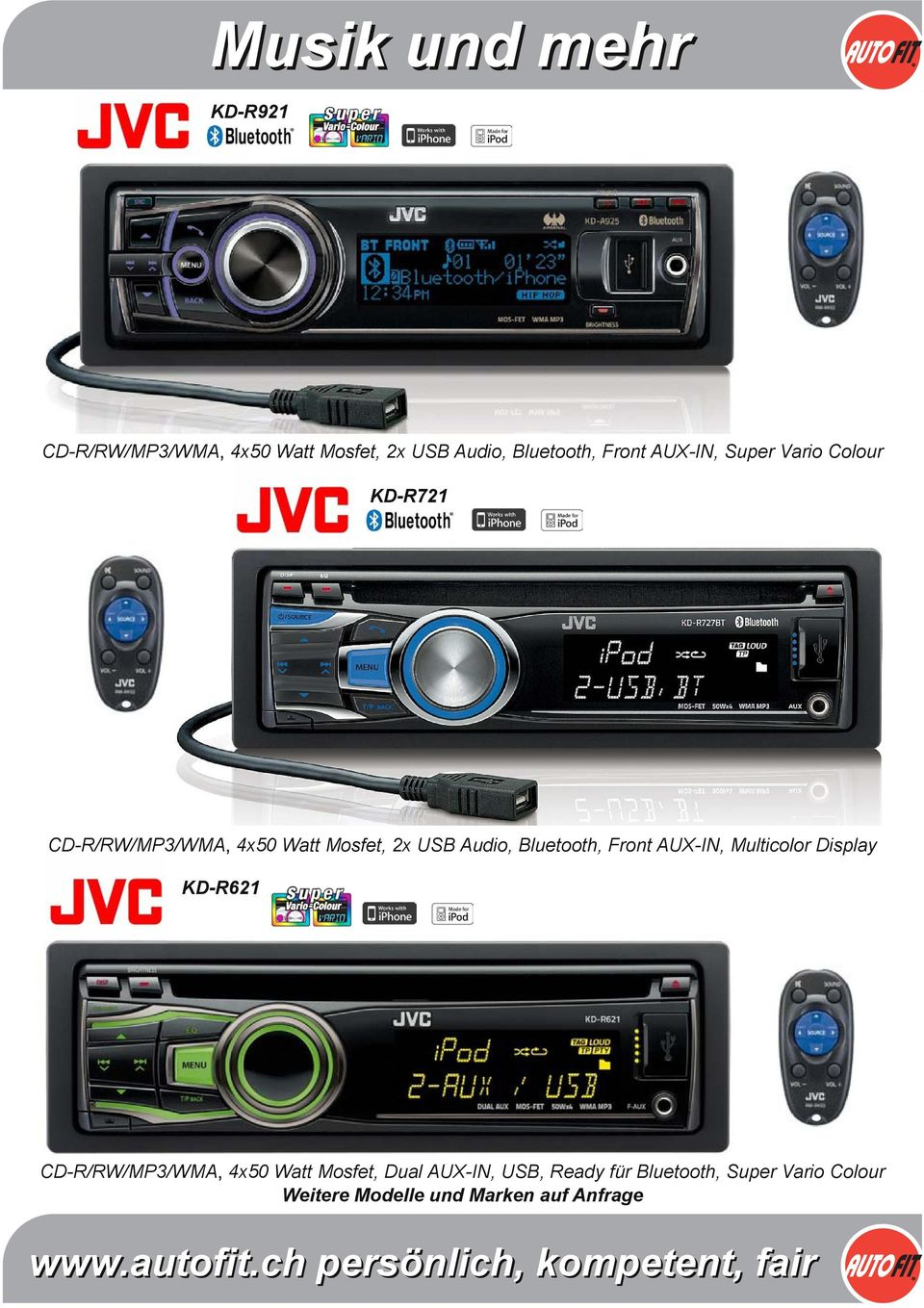 Bluetooth, Front AUX-IN, Multicolor Display KD-R621 CD-R/RW/MP3/WMA 4x50 Watt Mosfet,