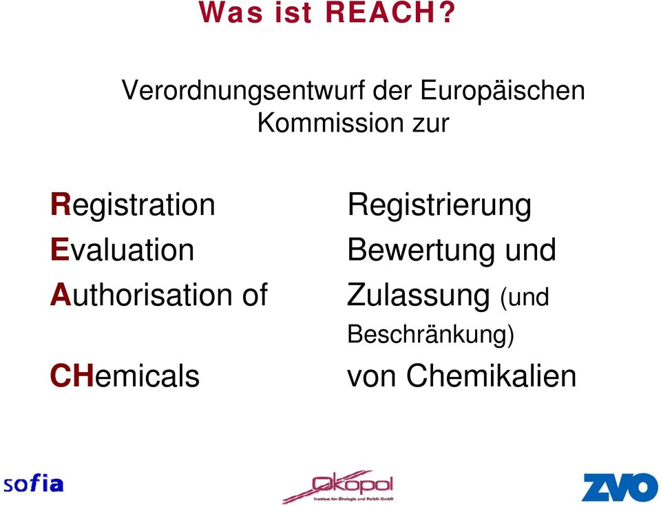 zur Registration Evaluation Authorisation of